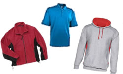 polar fleece, polo shirts, jackets